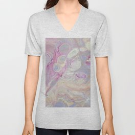 Fluid Nature - Dream In Pastels - Acrylic Pour Art Unisex V-Neck