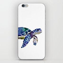 Sea Turtle Illustration blue purple green turtle art iPhone Skin