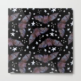 Super Cute Kawaii Bats and Stars Pattern Metal Print