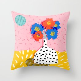 In There - throwback retro still life flower vase abstract minimal dots painting flower florals Throw Pillow