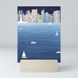 New York City NYC skyline panorama Manhattan Mini Art Print