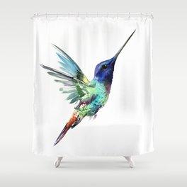 Flying Hummingbird flying bird, turquoise blue elegant bird minimalist design Shower Curtain