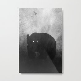 Black and White Bear Silhouette Metal Print
