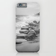 Rocks on the Sea Wall at Fort Fisher NC Sepia Black and White Slim Case iPhone 6s