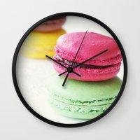 macaron Wall Clocks featuring Macaron by Natalia Valle