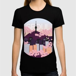 Seoul Tower with Cherry Blossoms Woodblock Style Souvenir Print T-shirt