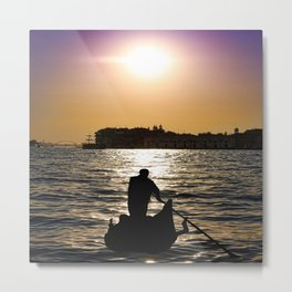 Silhouette Of A Gondola In Sunset Metal Print