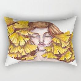 Unfold Watercolor Gingko Leaf Illustration Rectangular Pillow