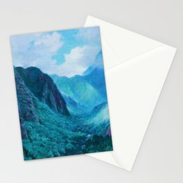 Iao Valley, Maui, Hawaiian landscape pinging by D. Howard Hitchcock Stationery Cards