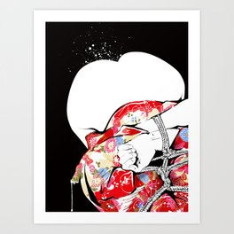 Woman wears a traditional kimono, Body tied by rope, Shibari, Japanese BDSM art, Fashion illusration Art Print