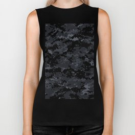 Pixelated Dark Grey Camouflage Biker Tank