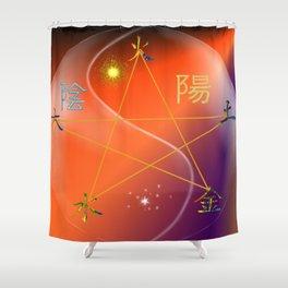 Feng Shui five elements Orange Purple Shower Curtain