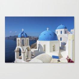 Santorini, Oia Village, Blue and White Church Canvas Print