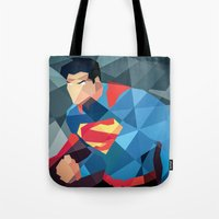 dc comics Tote Bags featuring DC Comics Man of Steel by Eric Dufresne