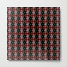 Textured Argyle in Black, Red and Gray Metal Print