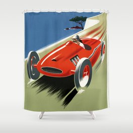 French Riviera 01 - Vintage Poster Shower Curtain