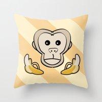 monkey Throw Pillows featuring Monkey by Nir P