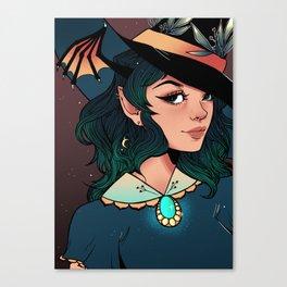 Floral Bat Witch Canvas Print