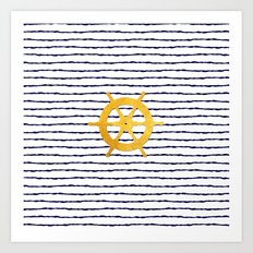Marine pattern- Navy blue white striped with golden wheel Art Print
