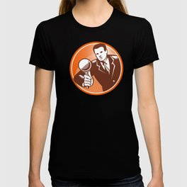 Businessman Holding Looking Magnifying Glass Woodcut T-shirt