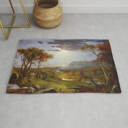 Autumn & Rays of Sun in the Hudson River Valley by Jasper Francis Cropsey Rug