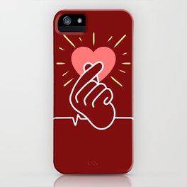 K-Pop Heartbeat Finger Heart iPhone Case