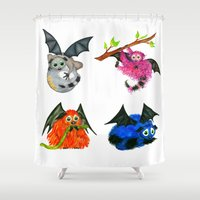 iggy Shower Curtains featuring Iggy through the Pages by Shannon Messenger