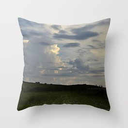 Sunset Cloudscape Rolling Hills Hay Rolls Throw Pillow