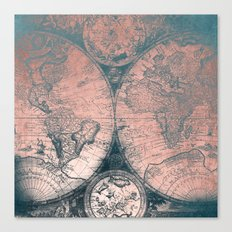 Vintage World Map Rose Gold and Storm Gray Navy Canvas Print