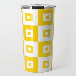 Retro Mid Century Modern Square Pattern Yellow Travel Mug