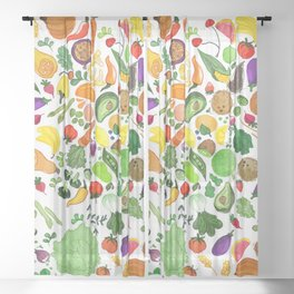 Fruit and Veg Pattern Sheer Curtain