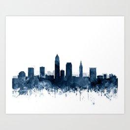 Cleveland Skyline Blue Watercolor by ZouzounioArt Art Print
