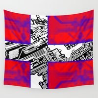 denmark Wall Tapestries featuring circuit board Flag (Denmark) by seb mcnulty