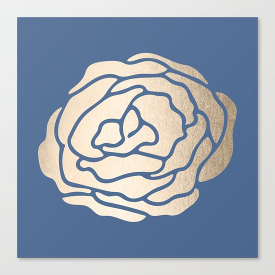 Rose White Gold Sands on Aegean Blue Canvas Print