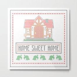 Animal Crossing 'Home Sweet Home' Cross-stitch Metal Print