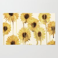 sunflowers Area & Throw Rugs featuring Sunflowers by mama wolf spider