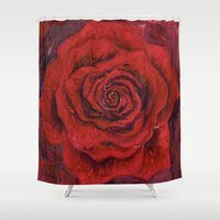 oil Shower Curtains featuring Midnight Oil by Lauri Matisse