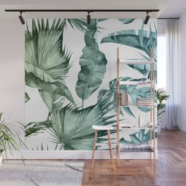 Tropical Palm Leaves Turquoise Green Blue Gradient Wall Mural