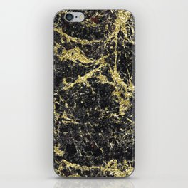 Marble - Glittery Gold Marble on Black Design iPhone Skin