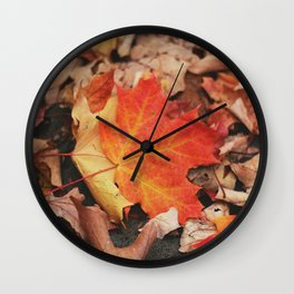 crimson leaves Wall Clock