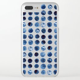 Indigo Circles Watercolor Pattern Clear iPhone Case