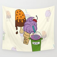 icecream Wall Tapestries featuring IceCream Summer by aileencopyright