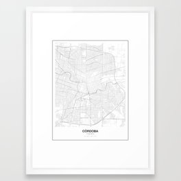 Córdoba, Argentina Minimalist Map Framed Art Print