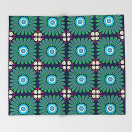 Green and Purple Daises Throw Blanket
