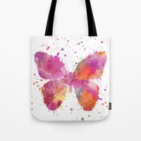 artsy Tote Bags featuring Artsy Butterfly by LebensART