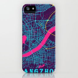 Hangzhou Neon City Map, Hangzhou Minimalist City Map Art Print iPhone Case