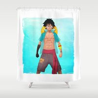 luffy Shower Curtains featuring Luffy by Yvan Quinet