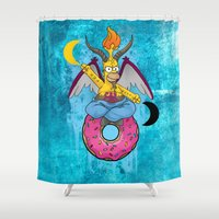 baphomet Shower Curtains featuring Homer The Baphomet by Conversa entre Adeptus