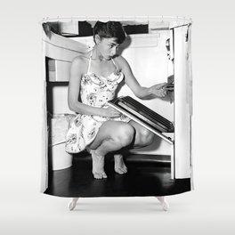 Audrey Hepburn in Kitchen, Black and White Vintage Art Shower Curtain