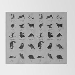 Animal Yogis_Black Throw Blanket